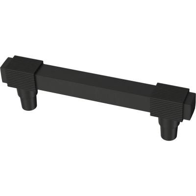Fluted Square 3-3/4 in. (96 mm) Matte Black Drawer Pull