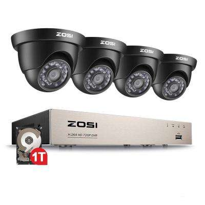 8-Channel 720p DVR 1TB Surveillance System with 4-Wired Dome Cameras