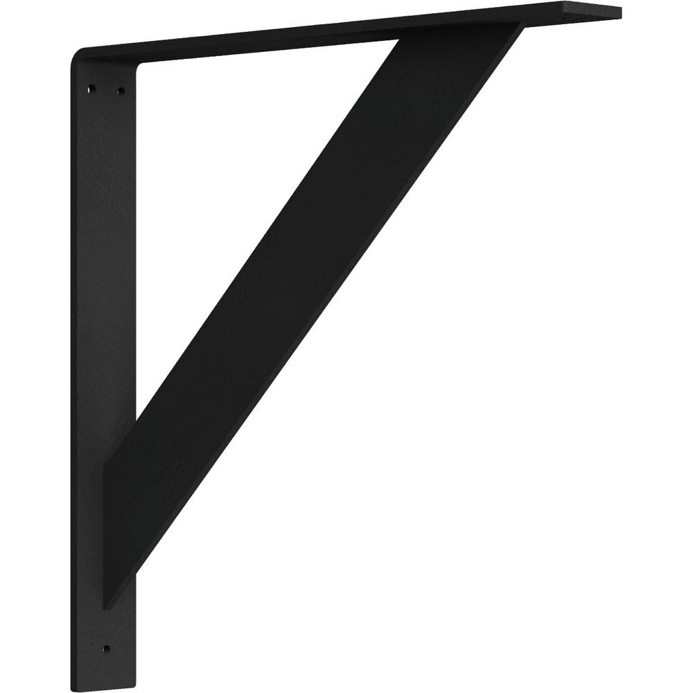 2 in. x 16 in. x 16 in. Steel Hammered Black