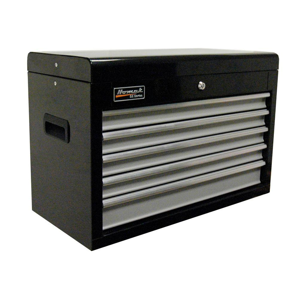 Homak SE Series 27 in. 5-Drawer Top Chest, Black and Gray