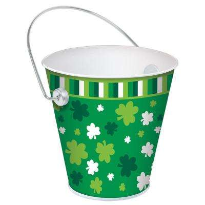 4.5 in. St. Patrick's Day Metal Shamrocks Pail (6-Pack)