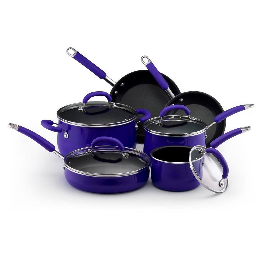 Rachael Ray 10 Piece Nonstick Porcelain Enamel Cookware Set in Blue-DISCONTINUED