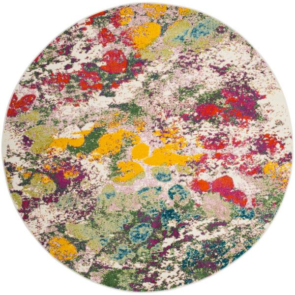 Watercolor Light Green/Rose 7 ft. x 7 ft. Round Area Rug