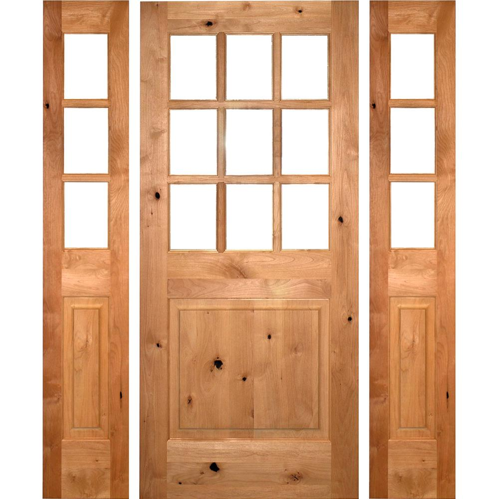 64 in. x 80 in. Craftsman Alder 9-Lite Clear Low-E Unfinished