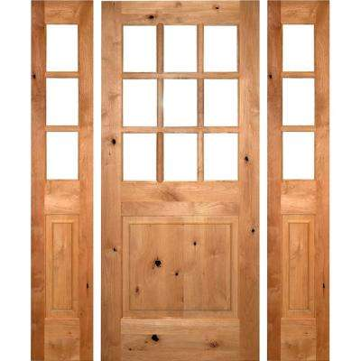 64 in. x 96 in. Craftsman Alder 9-Lite Clear Low-E Unfinished Wood Right-Hand Inswing Prehung Front Door/Sidelites