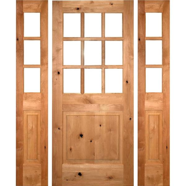 64 in. x 80 in. Craftsman Alder 9-Lite Clear Low-E Unfinished Wood Left-Hand Inswing Prehung Front Door/Sidelites