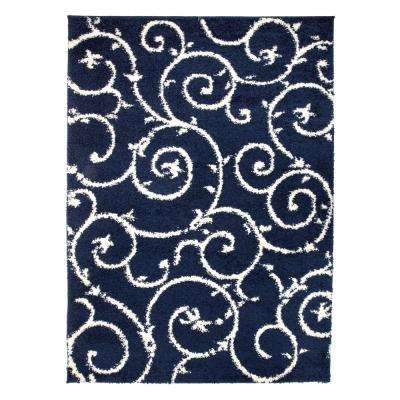 Cozy Soft Floral Shag Navy 7 ft. 10 in. x 10 ft. Indoor Area Rug