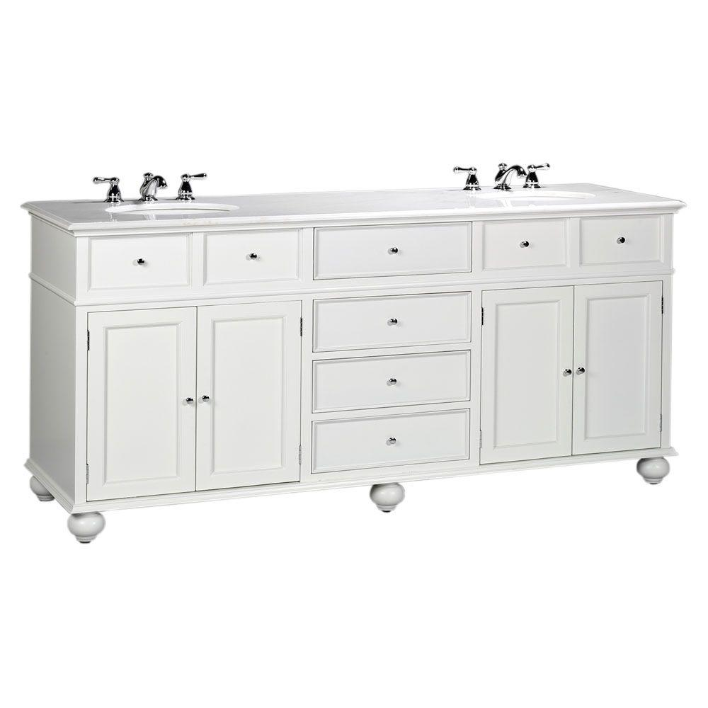 Bon Hampton Harbor 72 In. W X 22 In. D Double Bath Vanity In White