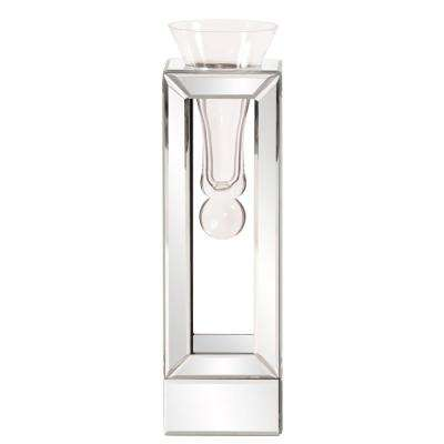 Clear Mirrored Frame with Suspended Glass Flared Vase, Small