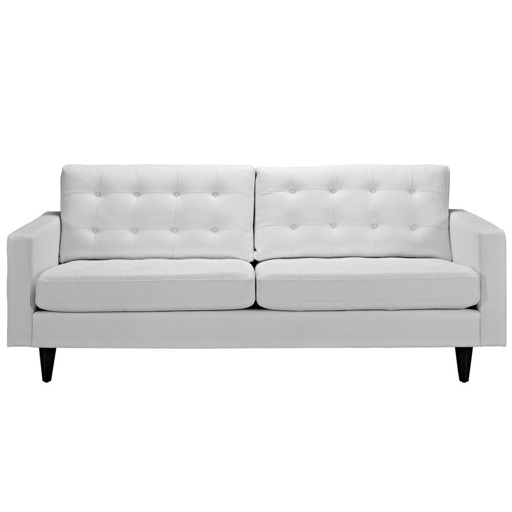 Empress White Bonded Leather Sofa
