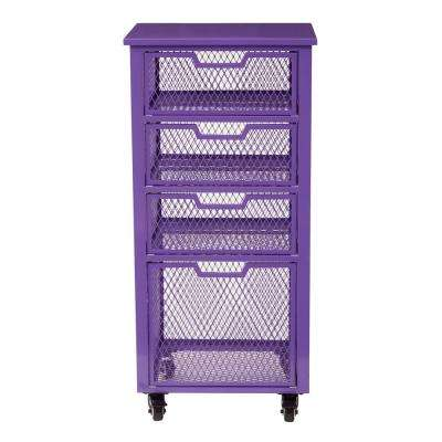 Clayton Purple Metal Frame 4-Drawer Rolling Cart