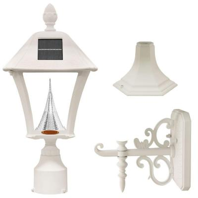 Baytown Solar White Outdoor Post/Wall Light with Bright/Warm-White LEDs