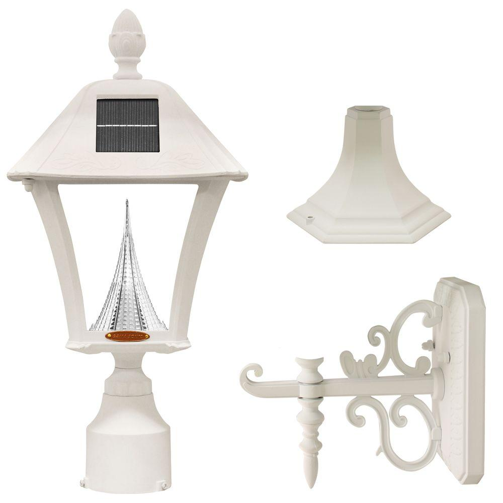 Gama Sonic Baytown Solar White Outdoor Post Wall Light
