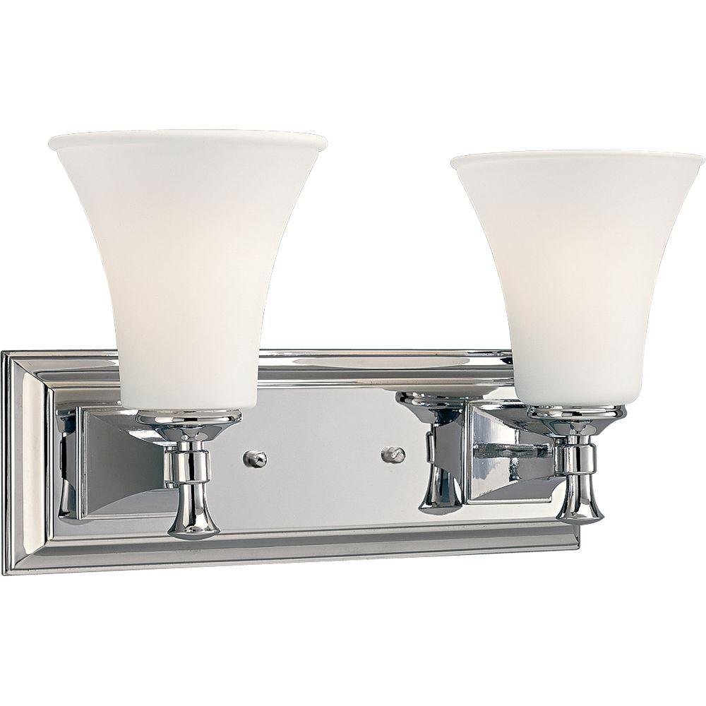 Fairfield Collection 2-Light Chrome Vanity Light with Opal Etched Glass Shades