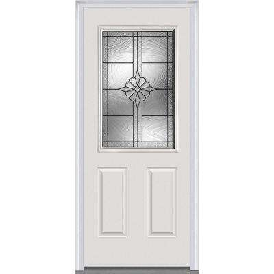 32 in. x 80 in. Dahlia Right-Hand Inswing 1/2-Lite Decorative Primed Fiberglass Smooth Prehung Front Door