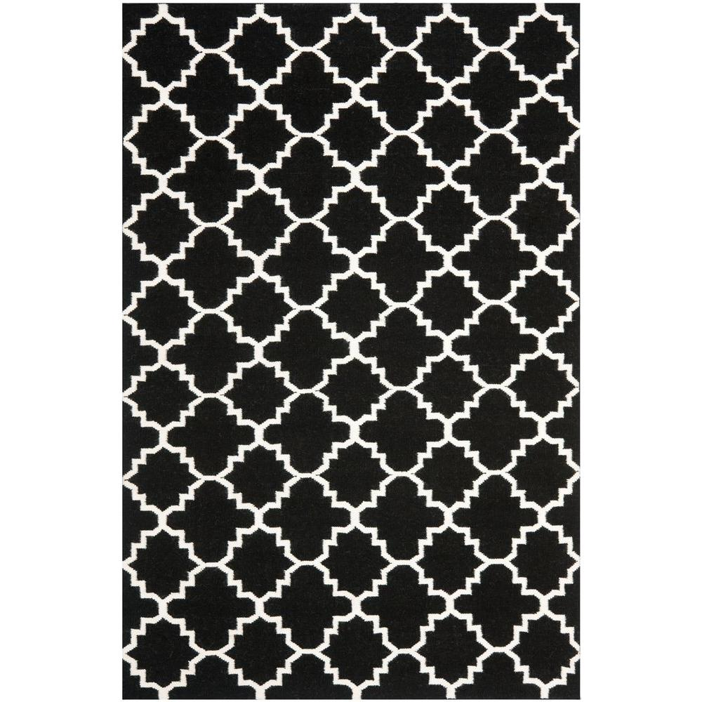Safavieh Dhurries Black/Ivory 6 ft. x 9 ft. Area Rug