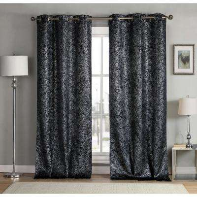 Solid Black Polyester Blackout Grommet Window Curtain 38 in. W x 96 in. L (2-Pack)