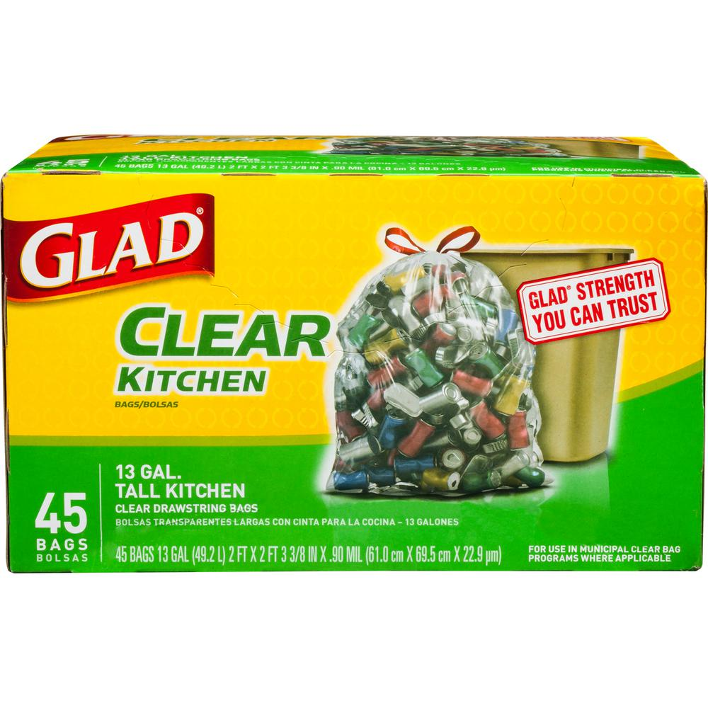 Glad 13 Gal Recycling Tall Kitchen Drawstring Clear Bags 45 Count