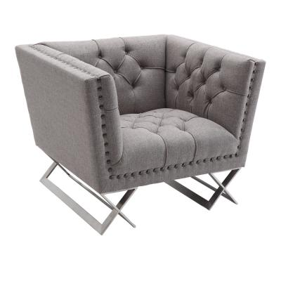 Odyssey Grey in Brushed Steel with Tweed Upholstery and Black Nail Heads Sofa Chair