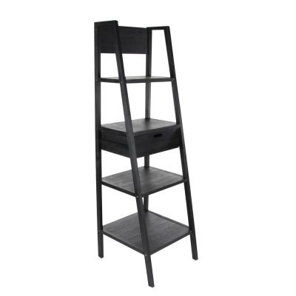 69 in. Matte Black Wood 4-shelf Ladder Bookcase with Open Back