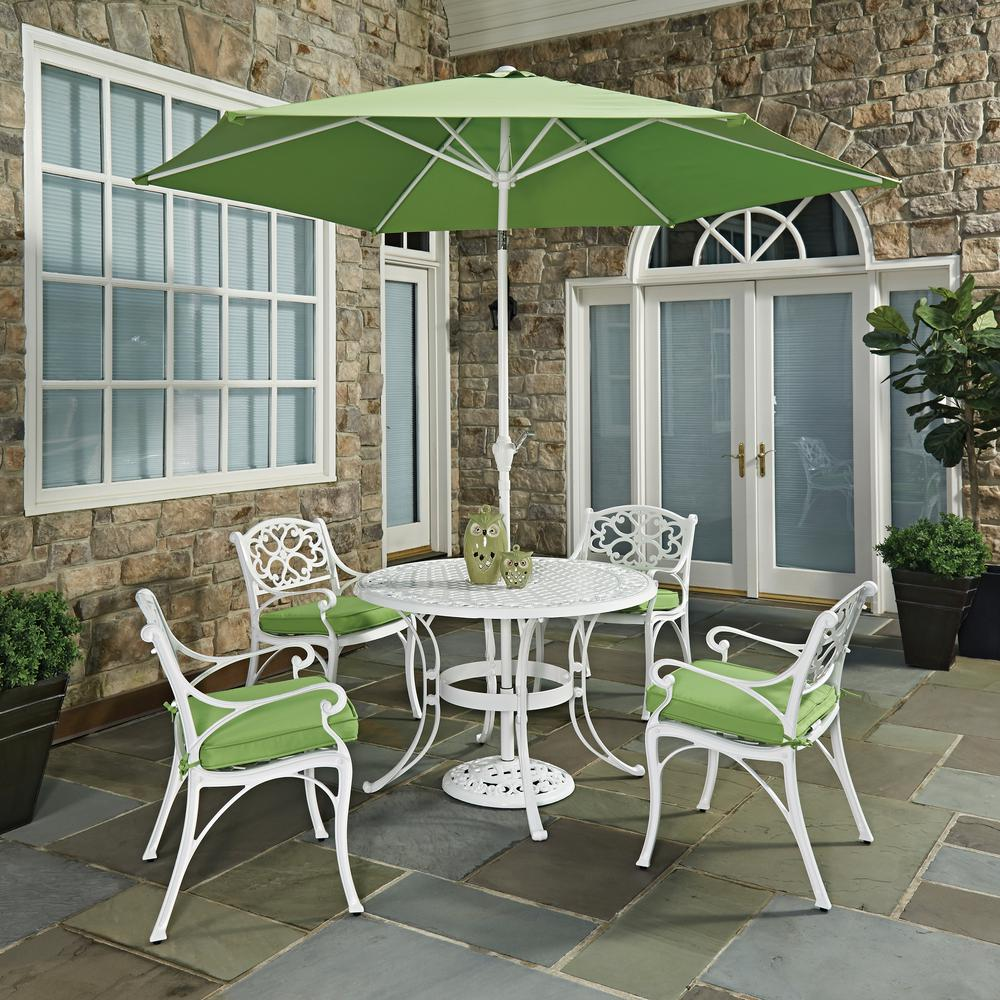 Beau Home Styles Biscayne White 7 Piece Outdoor Dining Set With Green Cushions