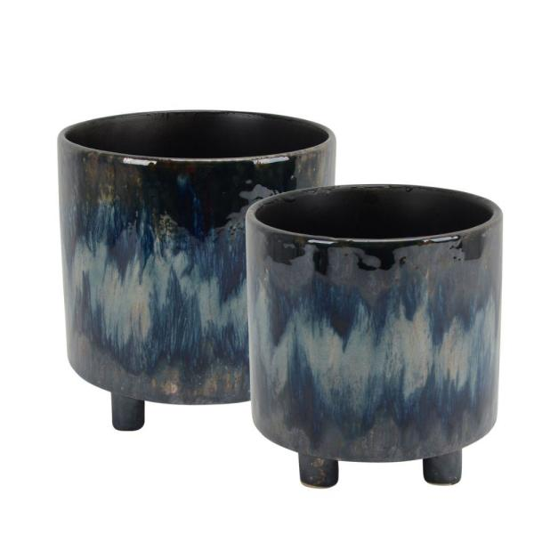 Contemporary Style 8.5 in. H Multi-Color Ceramic Footed Planters with Cylindrical Shape (Set of 2)