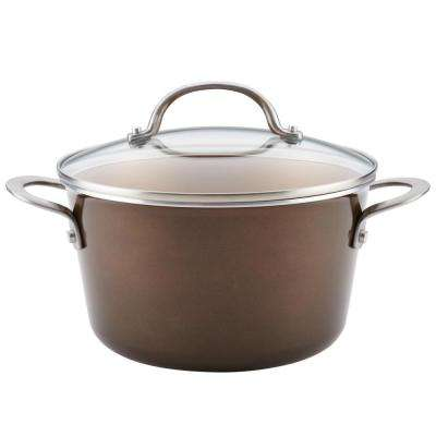 Home Collection 4.5 Qt. Brown Sugar Porcelain Enamel Non-Stick Covered Saucepot