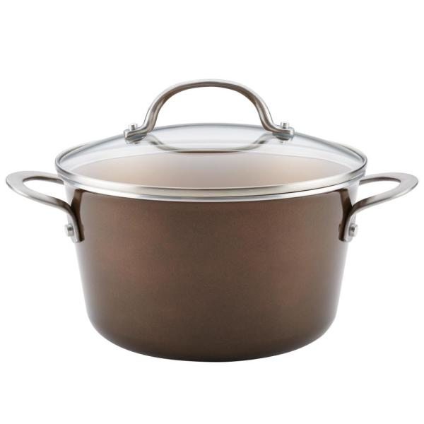 Ayesha Curry Home Collection 4.5 Qt. Brown Sugar Porcelain Enamel Non-Stick