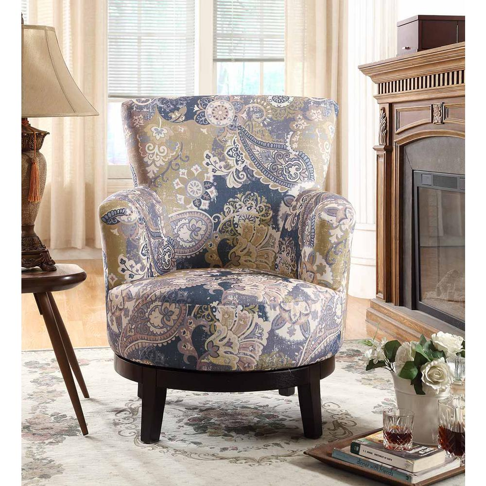 Unbranded Zoey Swivel Flower Pattern Accent Chair-90011-27 ...