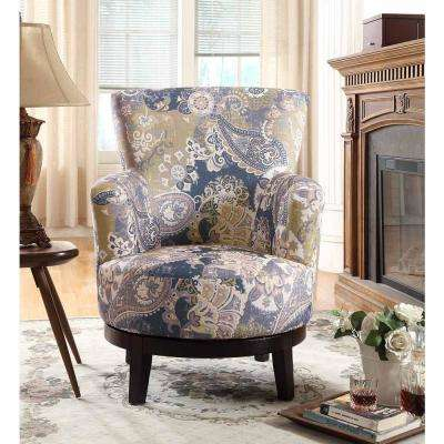 zoey swivel flower pattern accent chair - Living Room Accent Chairs