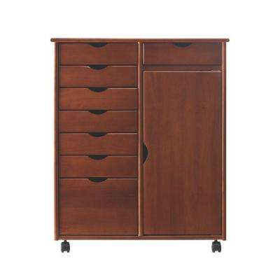 Stanton Double Wide 8-Drawer Storage Cart in Walnut
