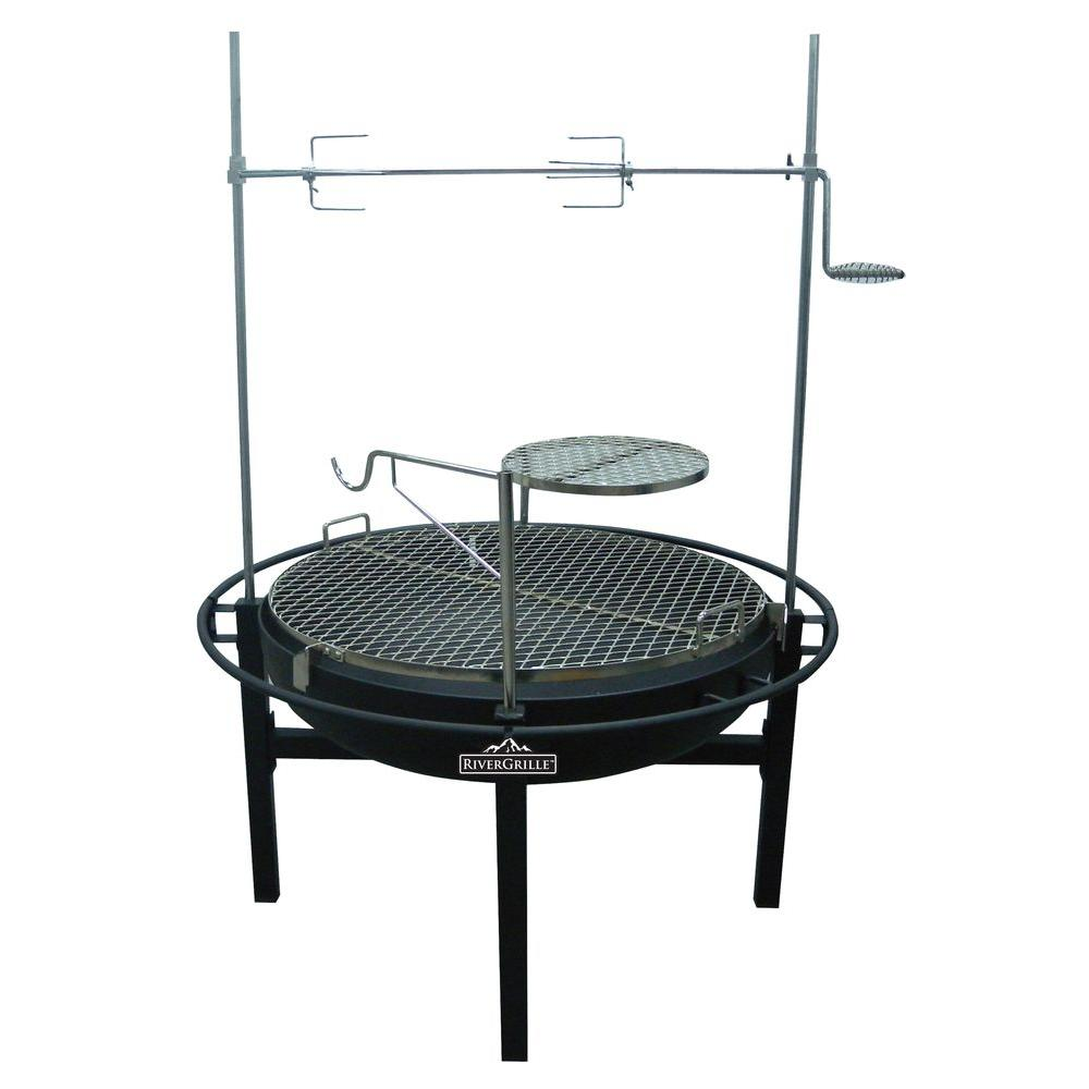 Charcoal Grill and Fire Pit - RiverGrille Cowboy 31 In. Charcoal Grill And Fire Pit-GR1038-014612