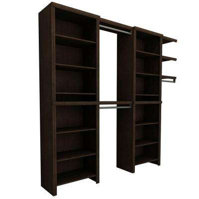 Impressions 8 ft. to 12 ft. 14.57 in. D x 72.84 in. W x 84.07 in. H Wide Chocolate Entry Laminate Closet System