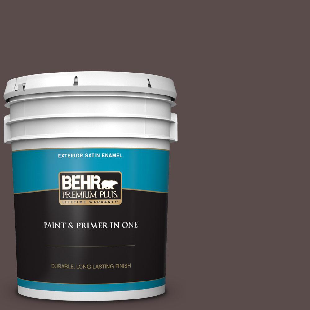 Behr Premium Plus 5 Gal Home Decorators Collection Hdc Ac 07 Oak Creek Satin Enamel Exterior Paint Primer 934005 The Home Depot