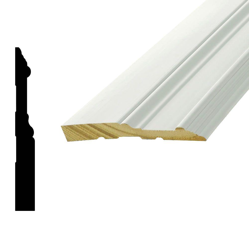 Woodgrain Millwork WP 5709 5/8 in. x 5-1/4 in. x 96 in. Primed Finger-Jointed Pine Base Moulding