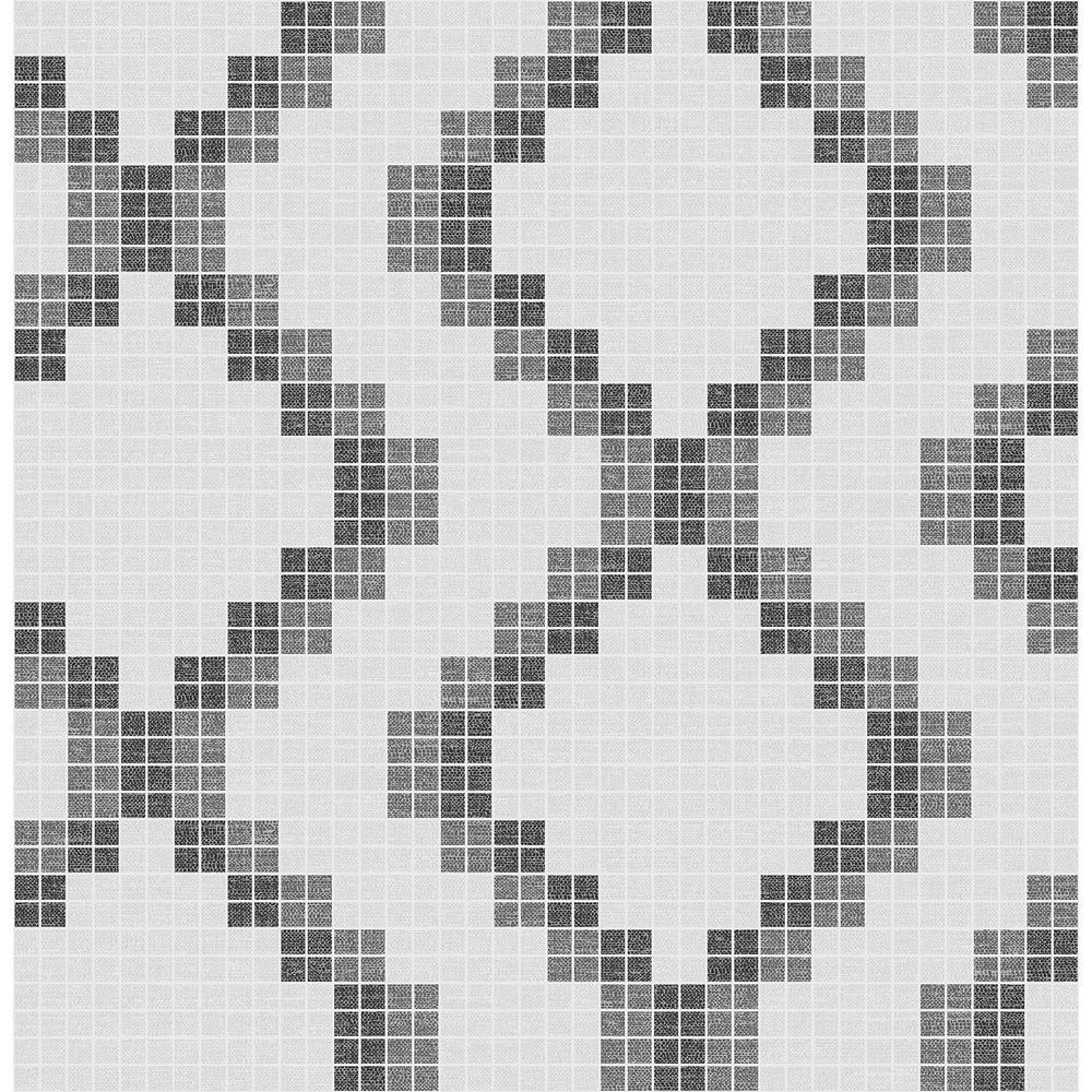 Mosaic Black Grid Wallpaper Sample