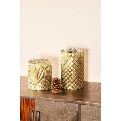 Light Green Geometric Patterned Cylindrical Glass Candle Holders (Set of 3)