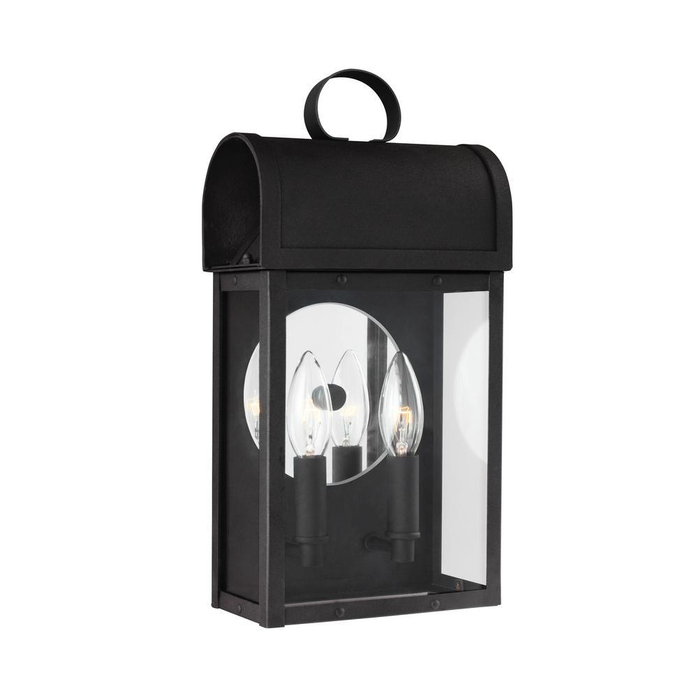 Conroe 2-Light Black Outdoor Wall Mount Lantern