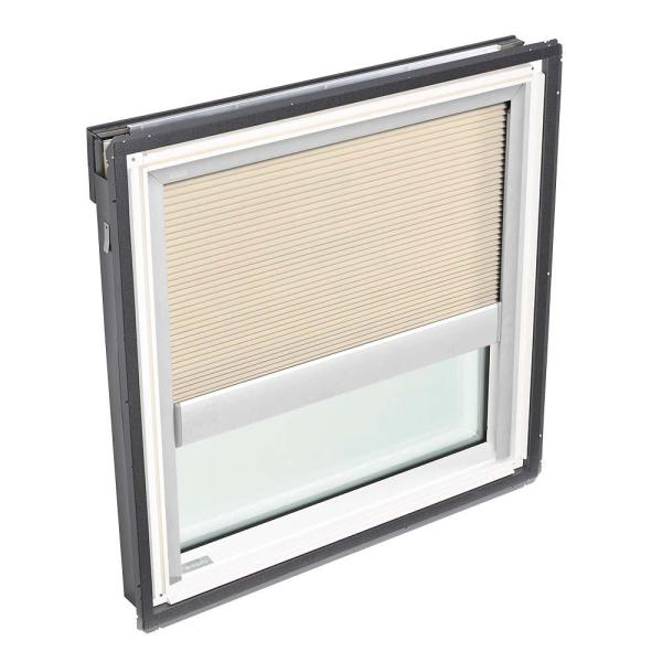 44-1/4 in. x 45-3/4 in. Fixed Deck-Mount Skylight with Laminated Low-E3 Glass and Beige Manual Room Darkening Blind