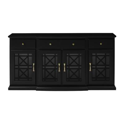 Black 60 in. Tiered Fretwork Sideboard