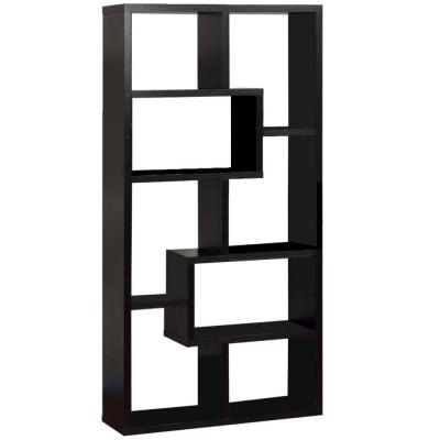 "71""H Black Finish Composite Wood 8 Shelf Accent Bookcase with Geometric Shelves"