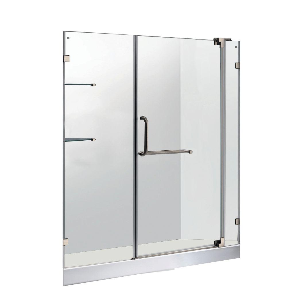 Vigo 59.75 in. x 72 in. Frameless Pivot Shower Door in Brushed Nickel with Clear Glass and White Base