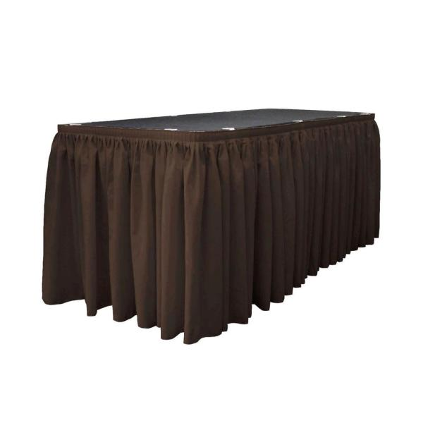 17 ft. x 29 in. Long Brown Polyester Poplin Table Skirt with 10 L-Clips