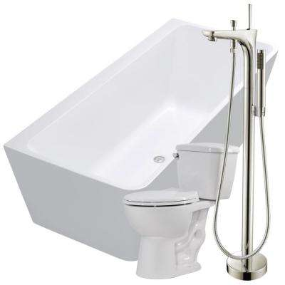 Strait 67 in. Acrylic Flatbottom Non-Whirlpool Bathtub in White with Kase Faucet and Cavalier 1.28 GPF Toilet