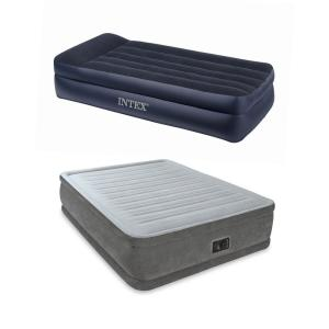 King Intex Deluxe Pillow Rest Inflatable Air Mattress Bed with Built In Pump