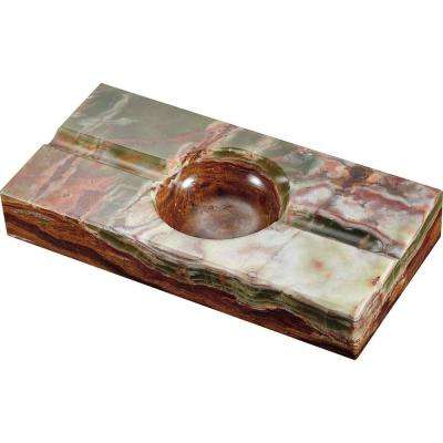 Azure Light Olive and Brown Rectangle Onyx Stone Cigar Ashtray with 2-Cigar Rests