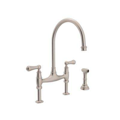 Perrin and Rowe 2-Handle Bridge Kitchen Faucet with Side Sprayer in Satin Nickel
