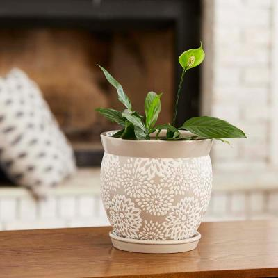 Farrah 9.1 in. x 9.1 in. Gray Ceramic Planter