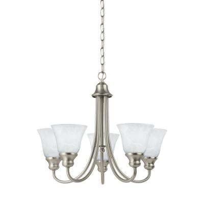 Windgate 5-Light Brushed Nickel Chandelier with LED Bulbs