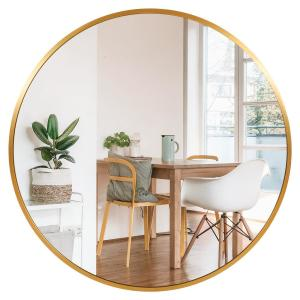 Stratton Home Decor Ava 35 5 In Round Gold Mirror S33466 The Home Depot